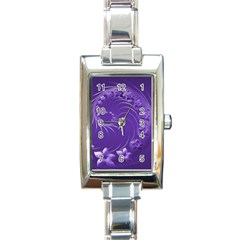 Violet Abstract Flowers Rectangular Italian Charm Watch