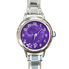 Violet Abstract Flowers Round Italian Charm Watch
