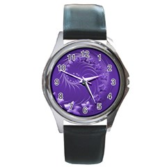 Violet Abstract Flowers Round Metal Watch (Silver Rim)