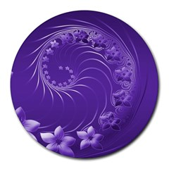 Violet Abstract Flowers 8  Mouse Pad (Round)