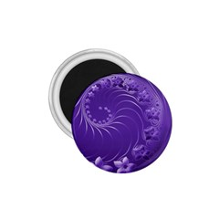 Violet Abstract Flowers 1.75  Button Magnet