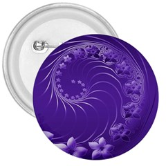 Violet Abstract Flowers 3  Button
