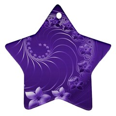 Violet Abstract Flowers Star Ornament