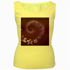 Violet Abstract Flowers Womens  Tank Top (Yellow)