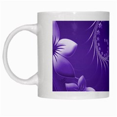 Violet Abstract Flowers White Coffee Mug