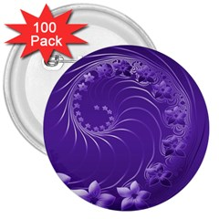 Violet Abstract Flowers 3  Button (100 pack)
