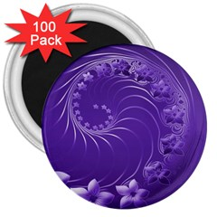 Violet Abstract Flowers 3  Button Magnet (100 Pack)