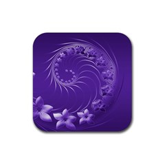 Violet Abstract Flowers Drink Coaster (Square)