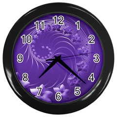 Violet Abstract Flowers Wall Clock (black)