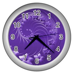 Violet Abstract Flowers Wall Clock (Silver)