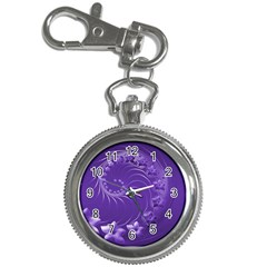 Violet Abstract Flowers Key Chain & Watch