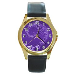 Violet Abstract Flowers Round Metal Watch (Gold Rim)