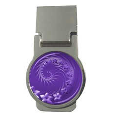 Violet Abstract Flowers Money Clip (round)