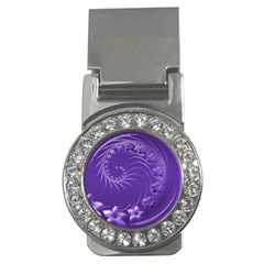 Violet Abstract Flowers Money Clip (CZ)