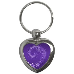 Violet Abstract Flowers Key Chain (Heart)