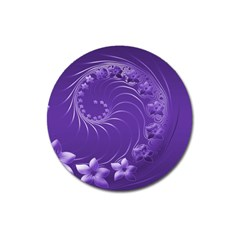 Violet Abstract Flowers Magnet 3  (round)