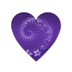 Violet Abstract Flowers Magnet (Heart)