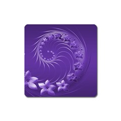 Violet Abstract Flowers Magnet (Square)