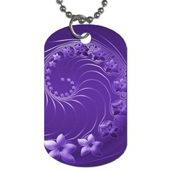Violet Abstract Flowers Dog Tag (One Sided)