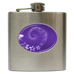Violet Abstract Flowers Hip Flask