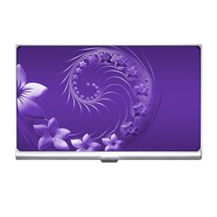 Violet Abstract Flowers Business Card Holder