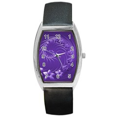 Violet Abstract Flowers Tonneau Leather Watch