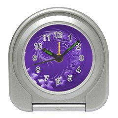 Violet Abstract Flowers Desk Alarm Clock
