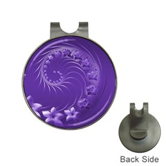 Violet Abstract Flowers Hat Clip with Golf Ball Marker