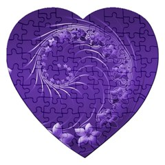 Violet Abstract Flowers Jigsaw Puzzle (Heart)