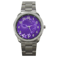 Violet Abstract Flowers Sport Metal Watch