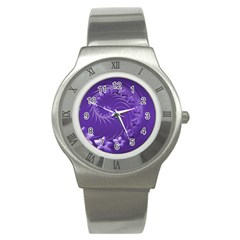 Violet Abstract Flowers Stainless Steel Watch (Unisex)