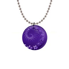 Violet Abstract Flowers Button Necklace