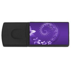 Violet Abstract Flowers 4GB USB Flash Drive (Rectangle)