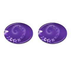Violet Abstract Flowers Cufflinks (Oval)