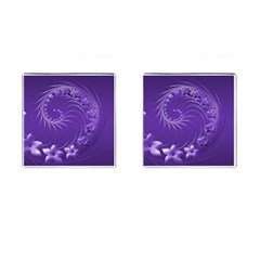Violet Abstract Flowers Cufflinks (Square)