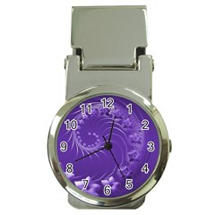 Violet Abstract Flowers Money Clip With Watch