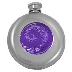 Violet Abstract Flowers Hip Flask (Round)