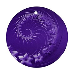 Violet Abstract Flowers Round Ornament (Two Sides)