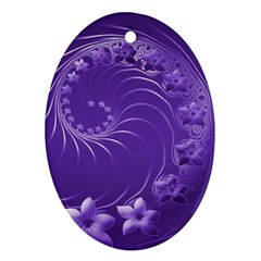 Violet Abstract Flowers Oval Ornament (Two Sides)