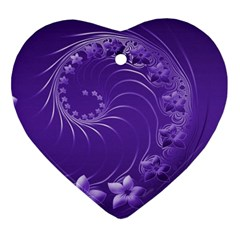 Violet Abstract Flowers Heart Ornament (Two Sides)