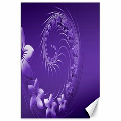 Violet Abstract Flowers Canvas 20  x 30  (Unframed)