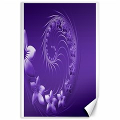 Violet Abstract Flowers Canvas 24  X 36  (unframed)