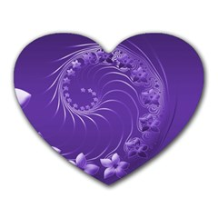 Violet Abstract Flowers Mouse Pad (heart)