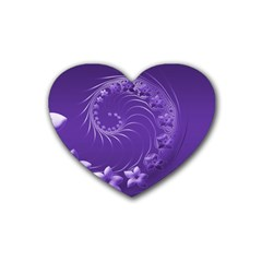 Violet Abstract Flowers Drink Coasters 4 Pack (Heart)