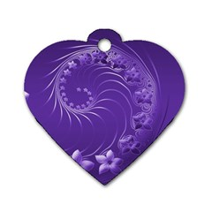 Violet Abstract Flowers Dog Tag Heart (Two Sided)