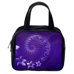 Violet Abstract Flowers Classic Handbag (One Side)