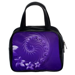 Violet Abstract Flowers Classic Handbag (two Sides)