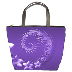 Violet Abstract Flowers Bucket Bag
