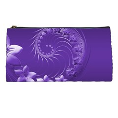 Violet Abstract Flowers Pencil Case