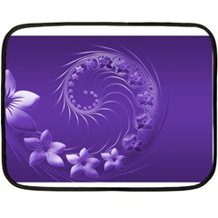 Violet Abstract Flowers Mini Fleece Blanket (Two-sided)